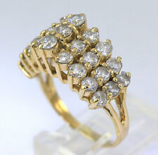 Diamond tiara ring 14K yellow gold 27 round brilliants 3.00CT 3 row pyramid sz 8