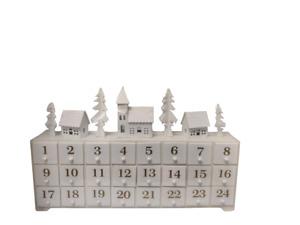 Christmas White Wooden Scene Design Advent Calendar LED Xmas Decoration Indoor