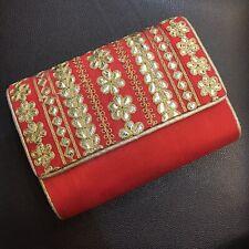 Gold red evening clutch bag Shoulder strap gotta party prom wedding handbag