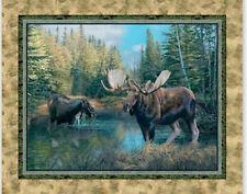 "Wild Wings Caldwell Creek Moose Cotton Fabric Springs CP41992 36""X44"" Panel"