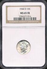 1944-D Mercury Dime Ngc Ms 65 Fb *Full Split Bands!*
