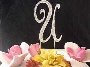 "Large Rhinestone Crystal Monogram Letter ""U"" Wedding Cake Topper 5"" inch High"