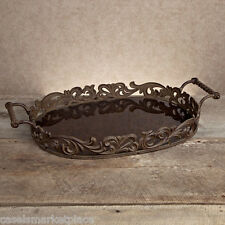 GG COLLECTION Acanthus 30in Oval Metal & Antiqued Glass Serving Tray