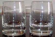 TWO (2) BACARDI LIMON  BEAUTIFUL RUM GLASSES BAT LOGO MINT CONDITION