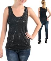 New Sleeveless Black Stretch Sequin Front Fabulous Tank Top Shirt~S/M/L~