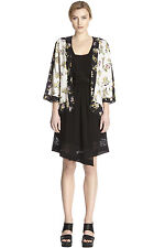 ASOS BLACK WHITE FLORAL BOHO KIMONO KAFTAN IBIZA SUMMER BEACH COVER UP SHIRT