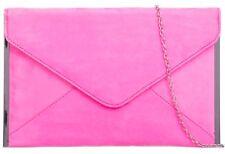 Pink Clutch Bag Faux Suede Evening Bag Ladies Neon Hot Pink Silver Tone Envelope