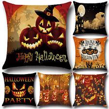 Halloween Calabaza Rústico Almohadón Funda Cubierta para Cojín Sofá De Sala De Decoración De Hogar