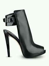 $139 GUESS CATEA BLACK LEATHER PLATFORMS HIGH HEELS PEEP TOE SIZE 9.5