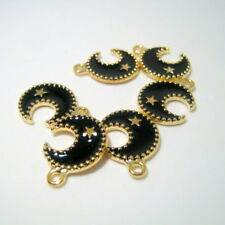 6 Black Crescent Half Moon Charms, 17x12mm, Jewelry Supplies, Moon Charms  G1204