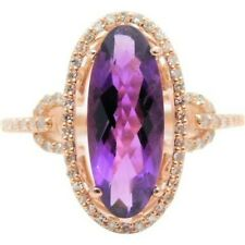 6Ct Oval Amethyst Syn Diamond Halo Solitaire Statement Ring Rose Gold Fns Silver
