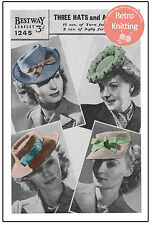 1940s Wartime Hats Vintage Knitting Pattern