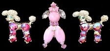 Lot 3 Pc. ADORABLE Vintage Pink RED AB Rhinestone POODLE Dog Figural Pins