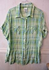 Just My Size blouse short sleeve V neck green glow plaid size 2X