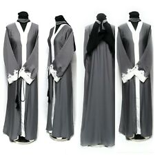 Women Open Front Abaya Maxi Dress Saudi Long Abaya Farasha Jilbab Burka Kaftan