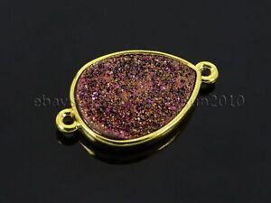 Natural Druzy Quartz Agate Bracelet Necklace Connector Charm Beads Gold Plated