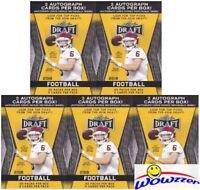 (5) 2018 Leaf Draft Football Factory Sealed 20 Pack Blaster Box-10 AUTOGRAPHS