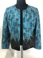 COLDWATER CREEK WOMEN'S SZ 16 Open Blazer Coat Dress Suit Blue Black Lined Top