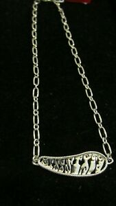 NEW Miss Sixty Designer Silver Stainless Steel Necklace NIB Abstract Signature