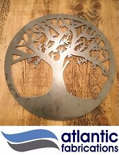 Solid steel wall art TREE OF LIFE hand finished raw metal art