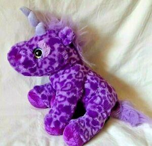 Wild Republic Soft Purple Unicorn Plush Animal Rainbow Hearts Eyes Glitter Horn