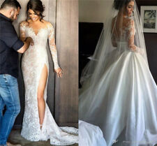 Detachable Long Sleeve V Neck Long Mermaid Wedding Dresses Bridal Gowns Custom