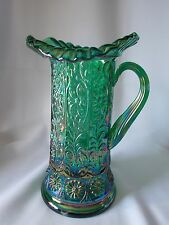 FENTON MILADY TANKARD/PITCHER HUNTER GREEN CARNIVAL  Signed