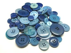 95g / 200+ Pack - BLUE BUTTONS - Assorted / Mixed Size - Knitting Sewing Craft