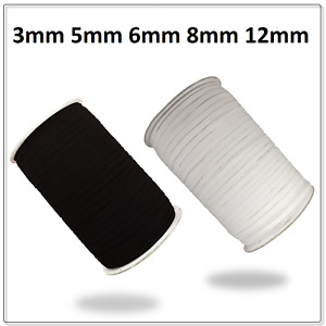 QUALITY Flat sewing Band Elastic CORD White/Black Face Mask 3mm,5mm,6mm,8mm,12mm