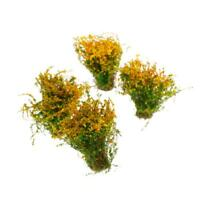 4pcs Mini Ground Cover Flower Plant Model for Dollhouse Scenery Layout Yellow