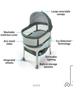 Graco Sense2Snooze Bassinet with Cry Detection Technology Responds to Baby's Cry