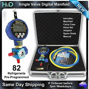 Refrigerant Manifold -Digital Pressure Gauge with Single Valve and Sight Glass