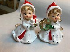 2 Vintage NAPCO Shopper Girl Figural Candle Holder Holds Presents X8388  #F2