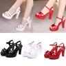Sexy Women Platform Sandals High Block Heel Hollow Out Casual Wedge Shoes Size