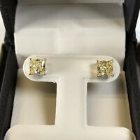 2 Ct Studs Diamond Earrings Princess Fancy Canary Yellow Man Made 14k Solid Gold