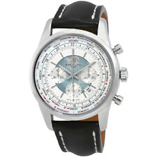 Breitling Transocean Chronograph Unitime Silver Dial Automatic Mens Watch
