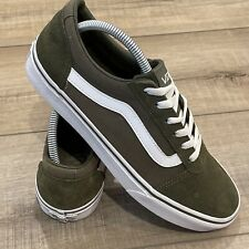 Vans Off the Wall Old Skool Low Womens Skate Shoes Size 9.5 Green White Suede
