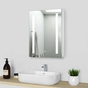 LED Bathroom Mirror Cabinet Demister Sensor With Shaver Socket Wall Mounted