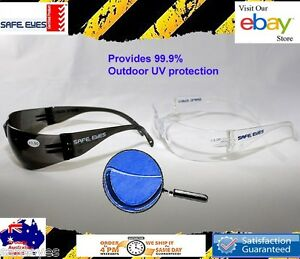 Bifocal Safety Glasses Clear or grey lens Unisex Readers Mixed strengths + pouch