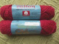 2 skeins Cancun Cotton, Columbia Minerva yarn, BERRY #119