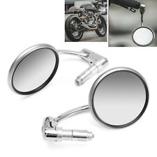 "2x Motorcycle Cafe Racer 7/8"" Grips Handle Bar 360° Swivel Rearview Mirror Retro"