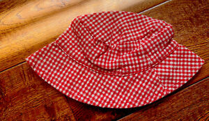 BAby Girl Red Linen Gingham Sun Hat 0-3 Months BABY GAP