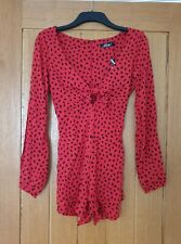 MOTEL ROCKS Romalo Playsuit in Mini Diana Dot Red and Black Small S
