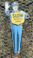VINTAGE COCA COLA SCHOOL CROSSING GUARD PORCELAIN SIGN OIL GAS COKE SODA POLICE