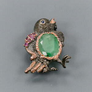 Emerald Brooch Silver 925 Sterling Handmade /NB08573