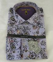 Luchiano Visconti Black Shirt Mens LT Purple Floral Plaid Woven Cotton Tall New