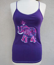 Purple Tank Top with Batik Elephant Print One of a Kind Yoga Tank Top Hippie