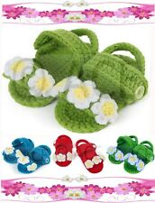 Baby Girls Shoes Infants Handmade Woollen Crochet Sandals Flowers 0-9 Months