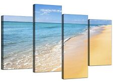 Beach Canvas Art Prints for your Bathroom - Set of 4 - Caribbean Landscape
