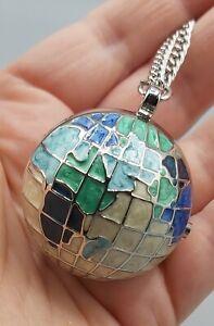New & Boxed Bespoke Time Large Enamel Globe World Fob Watch Pendant Necklace.